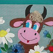 Для дома и интерьера ручной работы. Ярмарка Мастеров - ручная работа Декоративная шторка на дверцу кухонной плиты Коровка. Handmade.