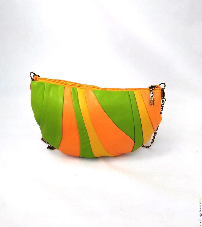 Leather round bag 'Fiona bright', citrus, orange, Classic Bag, Ulyanovsk,  Фото №1