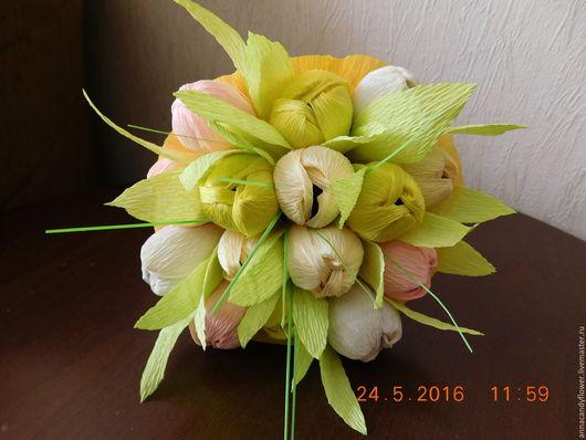 Букеты ручной работы. Ярмарка Мастеров - ручная работа. Купить Тюльпаны. Handmade. Желтый, сладкий подарок, букет из конфет