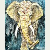 """Картины и панно ручной работы. Ярмарка Мастеров - ручная работа """"Золотой Хатхи"""" рельефное панно. Handmade."""