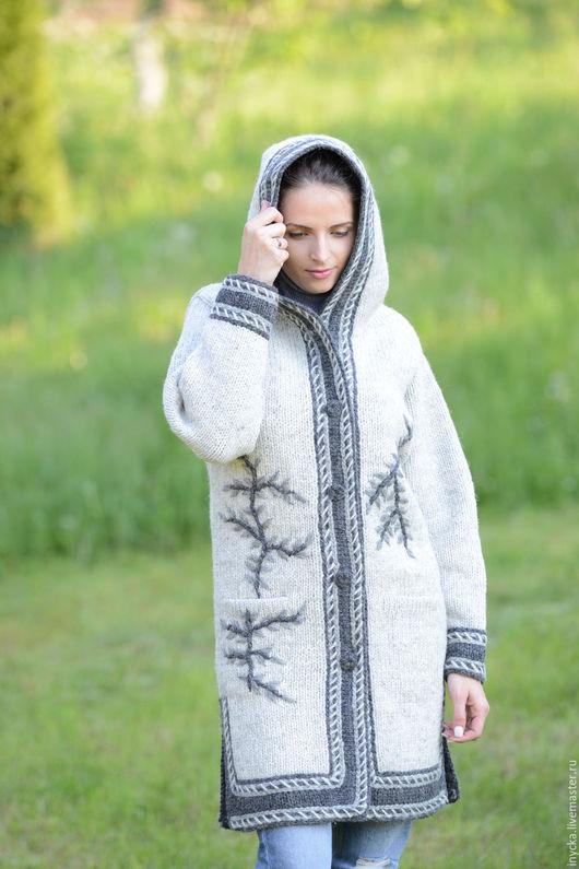 Верхняя одежда ручной работы. Ярмарка Мастеров - ручная работа. Купить Пальто вязаное 12wj30. Handmade. Серый, капюшон, фольклор