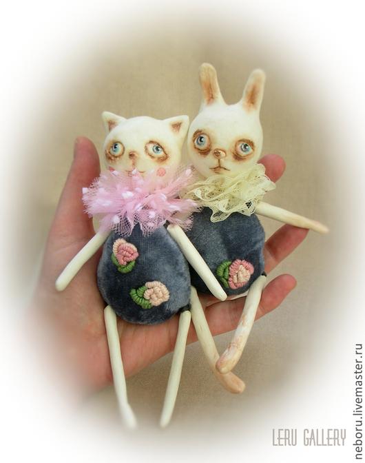 Коллекционные куклы ручной работы. Ярмарка Мастеров - ручная работа. Купить Киска и Зая. Авторская коллекционная кукла.. Handmade.