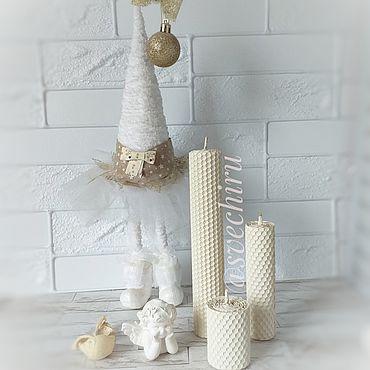 Для дома и интерьера ручной работы. Ярмарка Мастеров - ручная работа Свечи: белые свечи из натуральной вощины. Handmade.