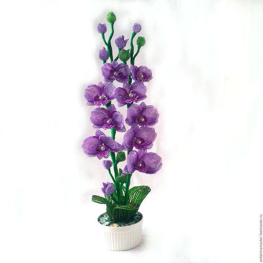 """Цветы ручной работы. Ярмарка Мастеров - ручная работа. Купить Цветы из бисера орхидея """"Сирень весной"""". Handmade. Сиреневый"""