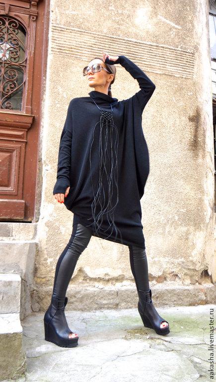 Платья ручной работы. Ярмарка Мастеров - ручная работа. Купить Платье Angora. Handmade. Черный, Платье на весну, теплая туника