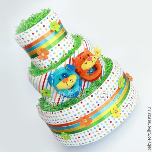 """Подарки для новорожденных, ручной работы. Ярмарка Мастеров - ручная работа. Купить Подарок новорожденному Бэби-торт """"Котёнок и щенок"""". Handmade."""