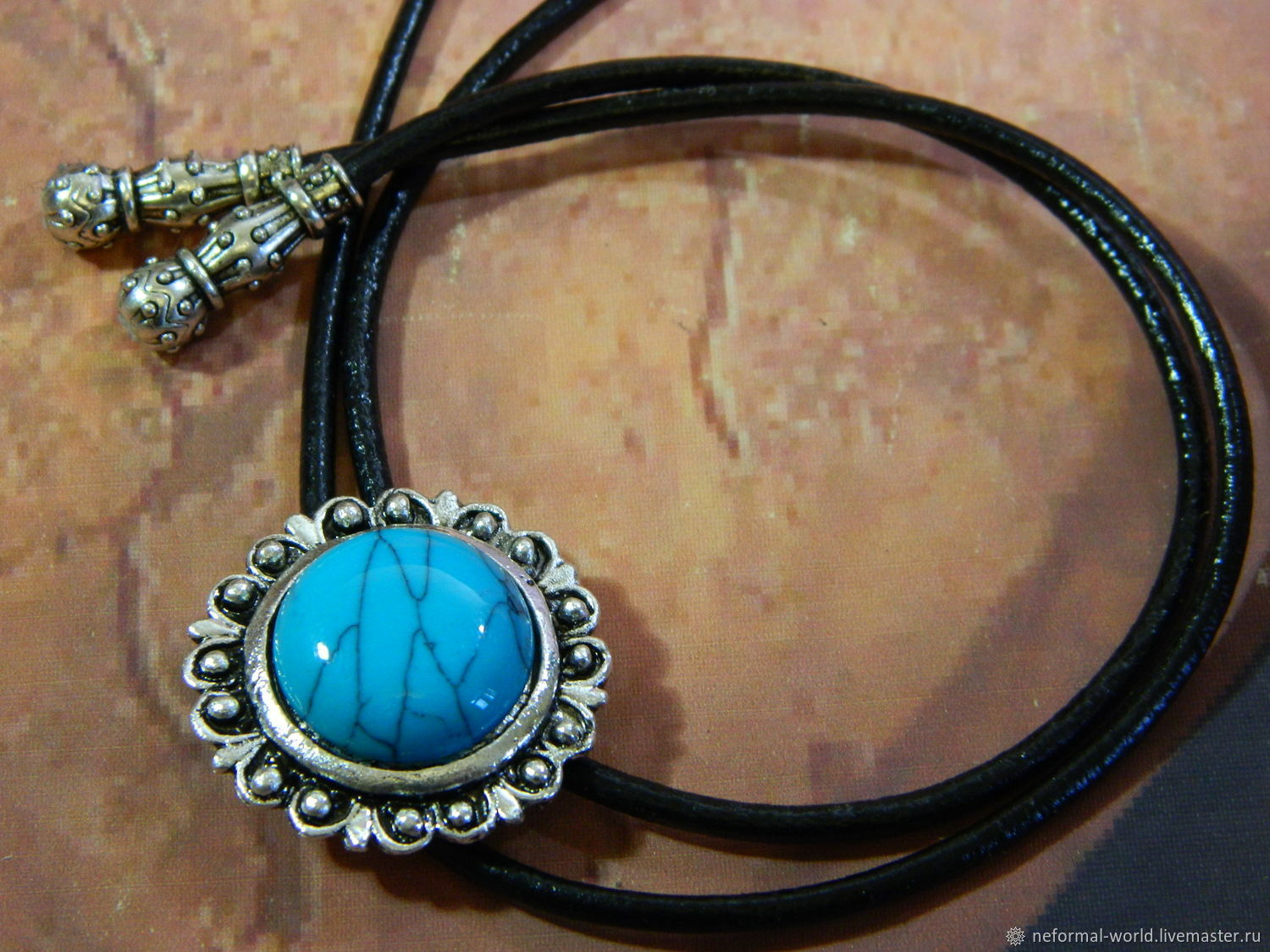 BOLO TIE WITH BLUE STONE 'FLOWER PATTERN' ˈ IN SILVER, Ties, Saratov,  Фото №1