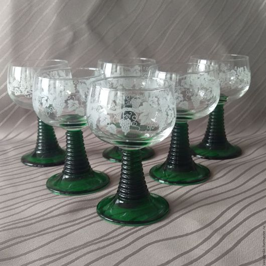Винтажная посуда. Ярмарка Мастеров - ручная работа. Купить Бокалы Ремёры, 6 штук, 100 мл, Германия. Handmade. Зеленый