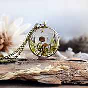 Украшения handmade. Livemaster - original item Pendant with mushrooms. Forest resin pendant with real moss and mushrooms. Handmade.