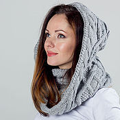 """Аксессуары ручной работы. Ярмарка Мастеров - ручная работа """"Жемчужина"""", шарф снуд капюшон вязаный женский, шарф вязаный женский. Handmade."""