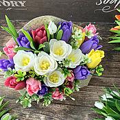 Косметика ручной работы handmade. Livemaster - original item Soap bouquet in an envelope Tulips. Handmade.