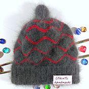 Аксессуары handmade. Livemaster - original item Knitted women`s hat with double Angora lapel. Handmade.