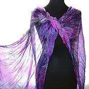 Аксессуары handmade. Livemaster - original item Silk scarf stole lilac pink gray silk. Handmade.