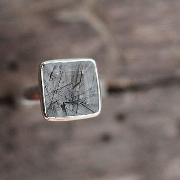 Украшения ручной работы. Ярмарка Мастеров - ручная работа 17.5 кварц волосатик Кольцо серебряное. Handmade.