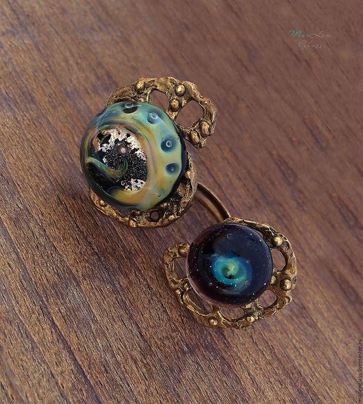 Кольца ручной работы. Ярмарка Мастеров - ручная работа. Купить Кольцо двойное Звезда Сириус. Handmade. Разноцветный, оригинальное украшение