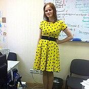 Одежда ручной работы. Ярмарка Мастеров - ручная работа Летнее платье в горошек с юбкой-солнце из  хлопка. Handmade.
