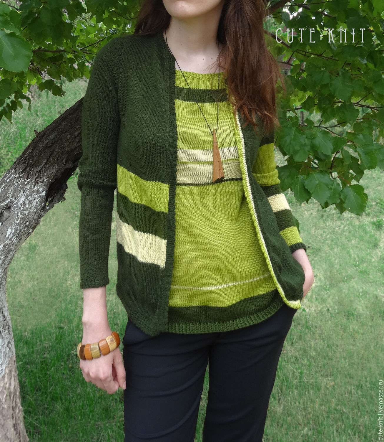 To better visualize the model, click on the photo CUTE-KNIT NAT Onipchenko Fair masters to Buy the jacket and bilateral top