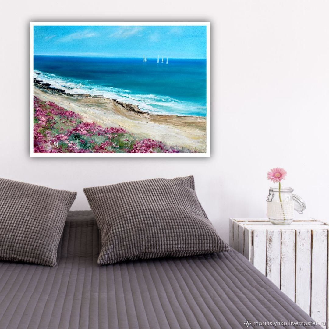 Oil painting. Sea. Sailboats Coast, Pictures, Alicante,  Фото №1