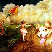 """Картины и панно ручной работы. Ярмарка Мастеров - ручная работа """"Бегом, за облаками!"""" картина А3. Handmade."""