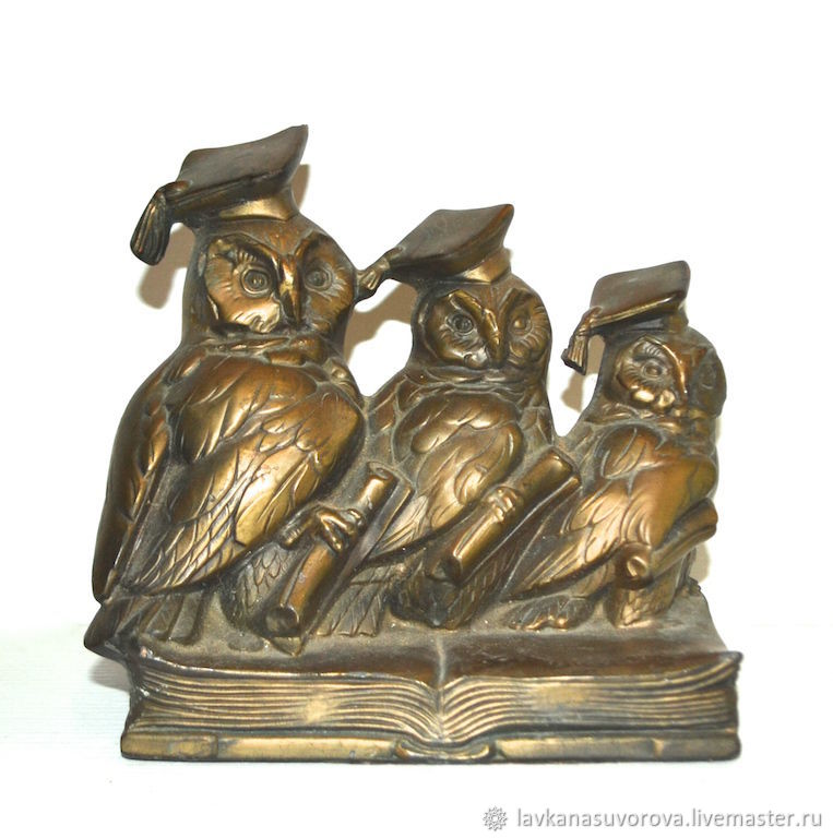 Bookend THREE wise OWLS USA, Vintage interior, Rostov-on-Don,  Фото №1
