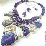 Украшения handmade. Livemaster - original item Necklace and Earrings - purple amethyst, pearl, mother of pearl, agate beads.. Handmade.