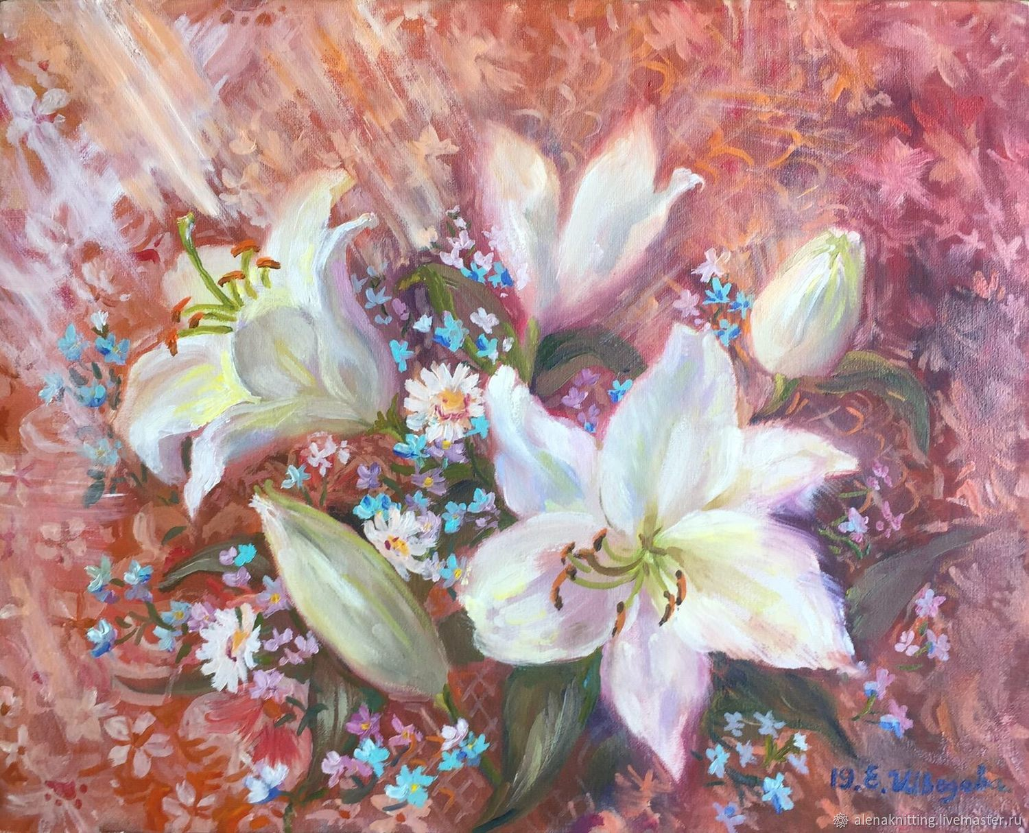 Oil painting ' white lilies», Pictures, Moscow,  Фото №1