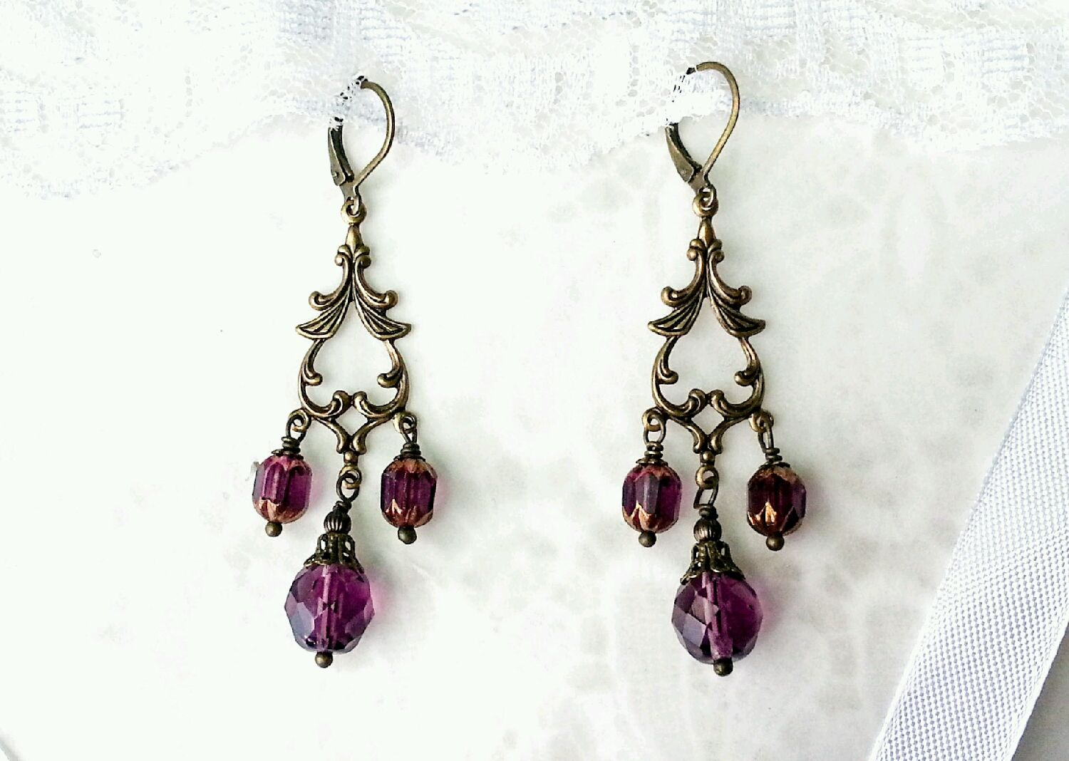 Long vintage chandelier earrings wine color with faceted beads long vintage chandelier earrings wine color with faceted beads aloadofball Image collections