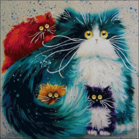 """Вышивка ручной работы. Ярмарка Мастеров - ручная работа. Купить Схема для вышивания крестиком """"Радужное семейство"""". Handmade. Комбинированный, кошка"""