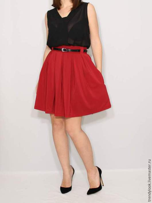 Юбки ручной работы. Ярмарка Мастеров - ручная работа. Купить Короткая бордовая юбка с карманами, юбка в складку. Handmade. Однотонный