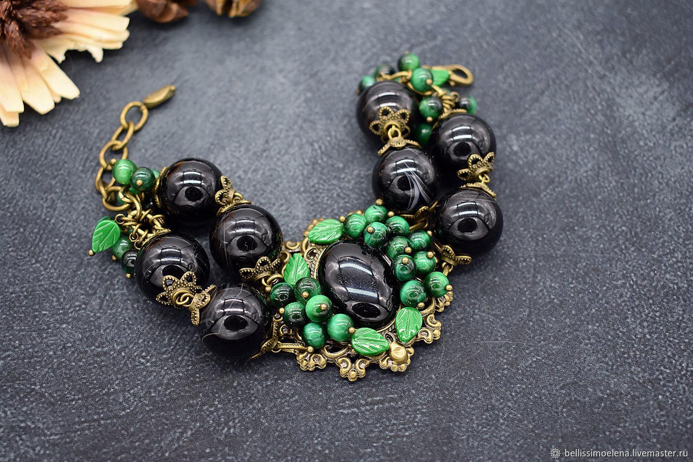 Браслет из натуральных камней, черный агат, зеленый, крупный, Браслет из бусин, Москва,  Фото №1
