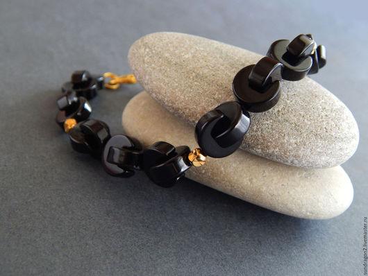 Украшения для мужчин, ручной работы. Ярмарка Мастеров - ручная работа. Купить браслет мужской позолоченный из оникса (черного агата) Цепь. Handmade.