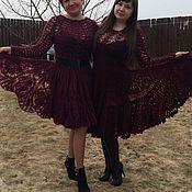 Одежда ручной работы. Ярмарка Мастеров - ручная работа Платье связанное крючком размер 44-46цвет гранат. Handmade.