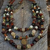 handmade. Livemaster - original item Multi-row ethnic necklace made of natural stones with a coin. Handmade.