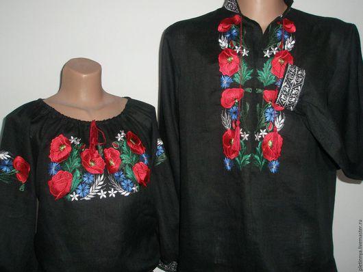"""Этническая одежда ручной работы. Ярмарка Мастеров - ручная работа. Купить """" Маки"""" на чёрном. Handmade. Черный, лён"""
