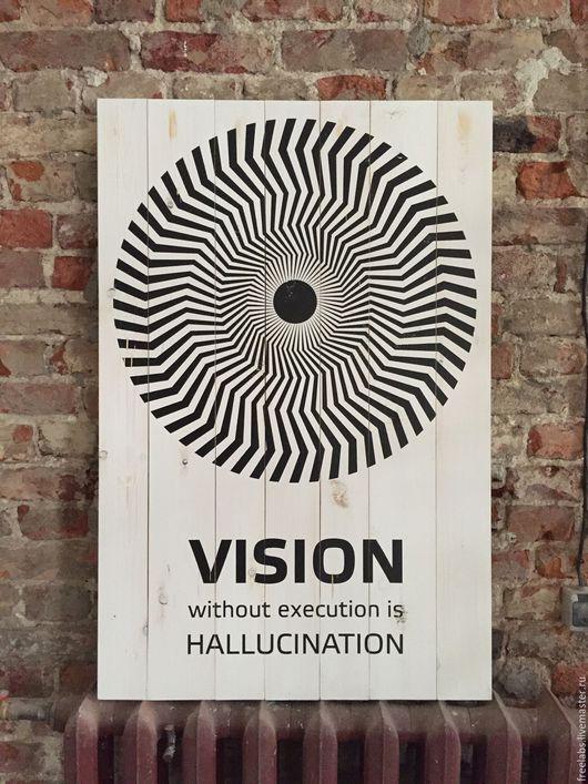 """Интерьерные слова ручной работы. Ярмарка Мастеров - ручная работа. Купить Постер на досках """"Vision"""". Handmade. Постер, постеры"""
