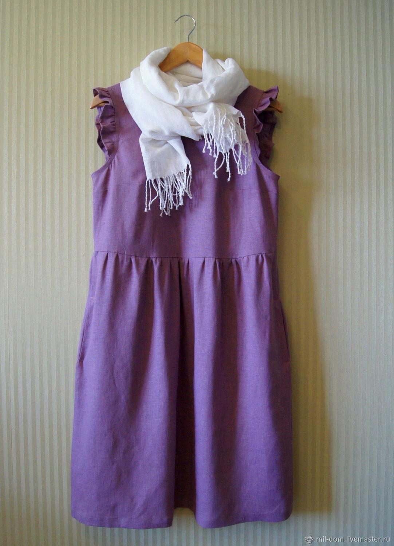 Платье льняное Пыльная роза платье женское платье летнее, Платья, Псков,  Фото №1