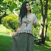 Одежда handmade. Livemaster - original item Linen suit with hand embroidery