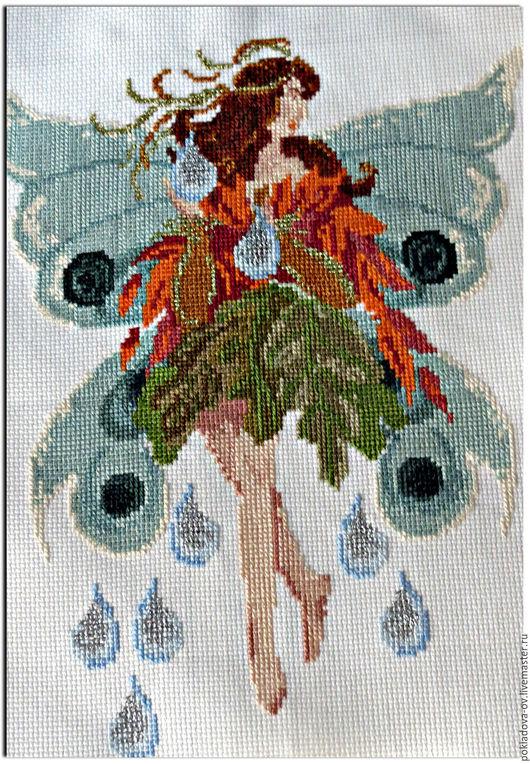 """Фантазийные сюжеты ручной работы. Ярмарка Мастеров - ручная работа. Купить Вышитая картина Танцующие феи """"Девочка-осень"""". Handmade."""