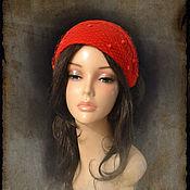 """Аксессуары ручной работы. Ярмарка Мастеров - ручная работа Шляпка """" красная с вуалью"""". Handmade."""