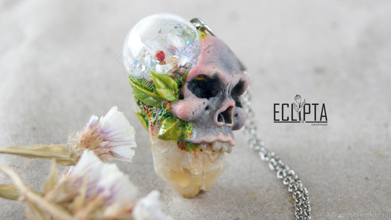 Кулон-шейкер череп из полимерной глины, череп украшение, Кулон, Железногорск,  Фото №1