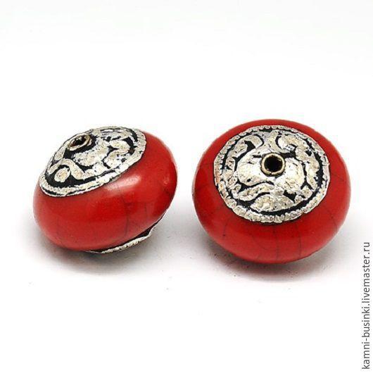 Тибетские бусины серебро коралл ручной работы. Тибетские Бусины  для колье, Тибетские бусины для браслетов, Тибетские бусина для серег.