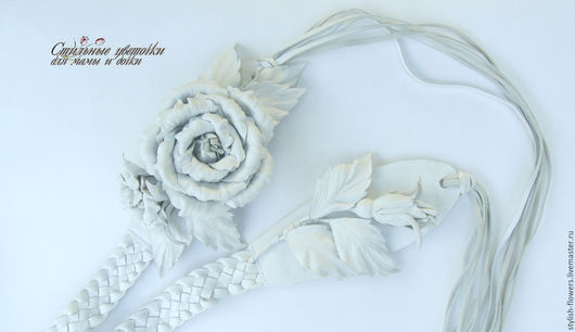 Пояс ручной работы. Пояс с цветами. Ярмарка Мастеров - ручная работа. Купить пояс из кожи `Белые розы`.