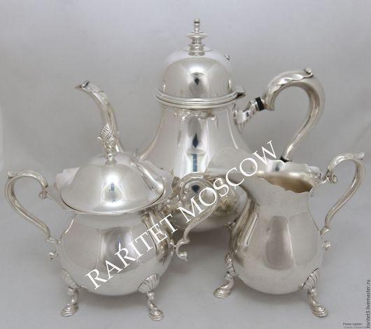Винтажная посуда. Ярмарка Мастеров - ручная работа. Купить Сервиз чайник сахарница сливочник серебрение 10. Handmade. Серебряный, клеймо