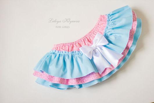 Одежда для девочек, ручной работы. Ярмарка Мастеров - ручная работа. Купить Юбочка-трусики на памперс блумер голубой и розовый. Handmade.