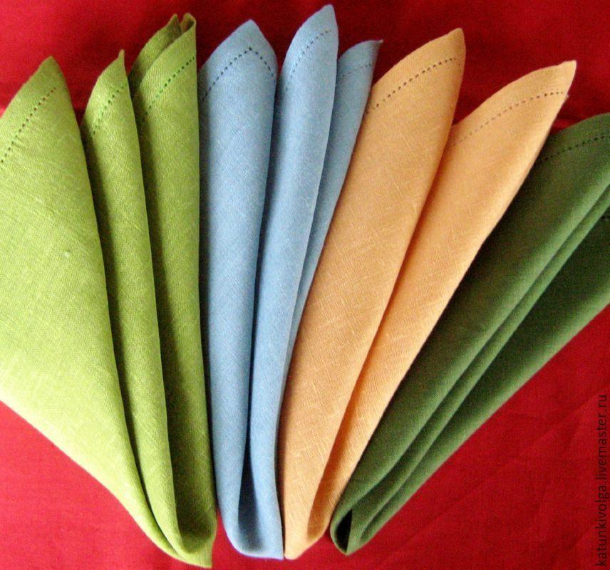 Льняная столовая салфетка с мережкой, производство фабричное.