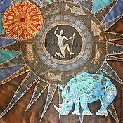 Аксессуары ручной работы. Ярмарка Мастеров - ручная работа Шелковый платок Бирюзовый носорог, батик. Handmade.