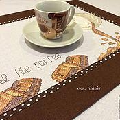 Салфетка вышивка кофе