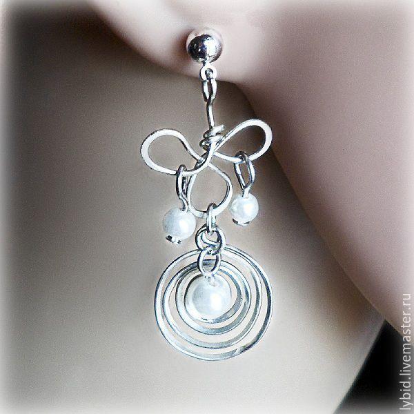 long earrings in german silver with swarovski pearls, Earrings, Varna,  Фото №1