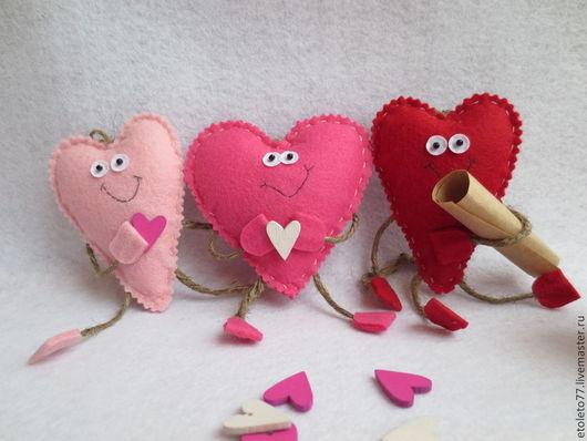 Подарки для влюбленных ручной работы. Ярмарка Мастеров - ручная работа. Купить Сердечки. Handmade. Сердце, фетр, валентинки