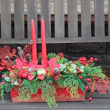 Цветы и флористика ручной работы. Ярмарка Мастеров - ручная работа Композиция новогодняя. Handmade.